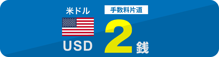米ドル手数料片道2銭 金利年1.200%(税引後年1.195%)